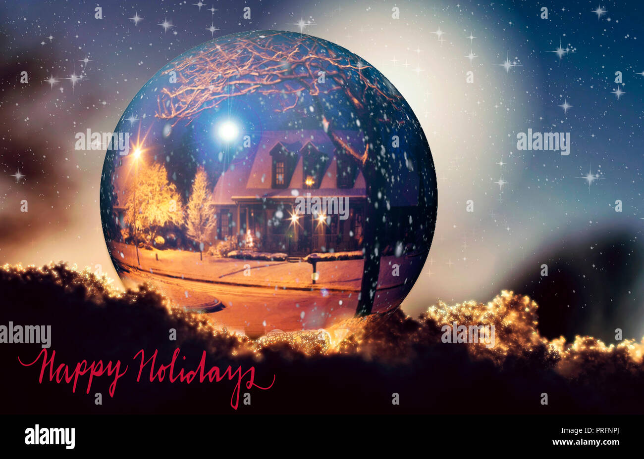 A Beautiful Christmas Card In A Vintage Style With A Big Ball And A