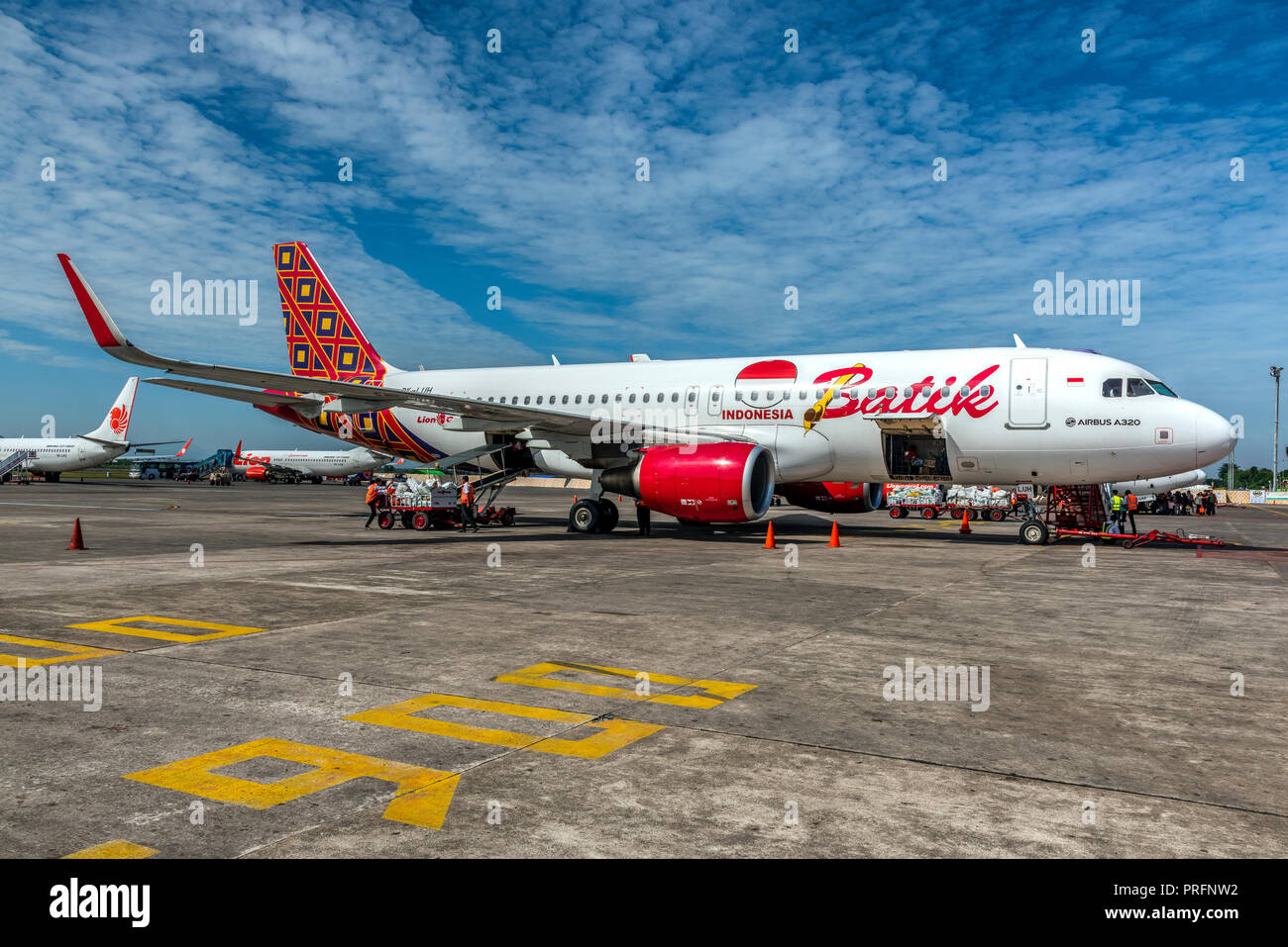 Batik Air Indonesia Airbus A320, Makassar airport, Sulawesi, Indonesia - Stock Image