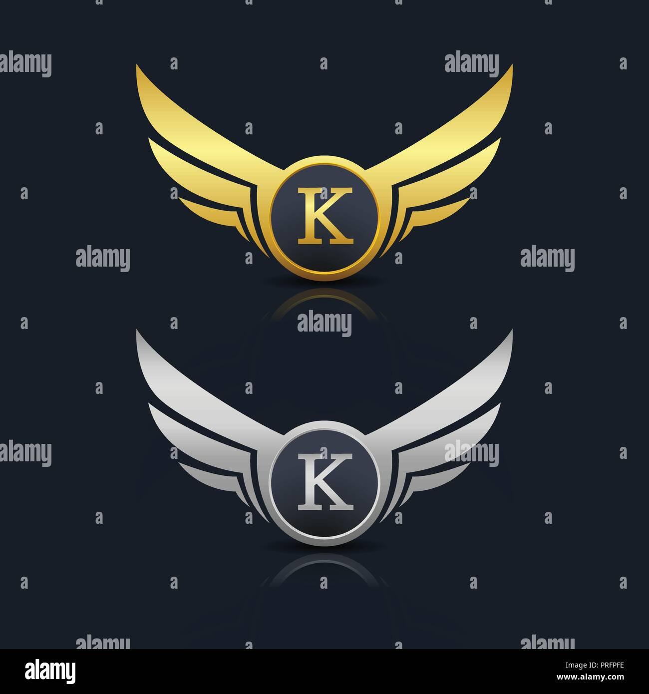 wings shield letter k logo template stock image