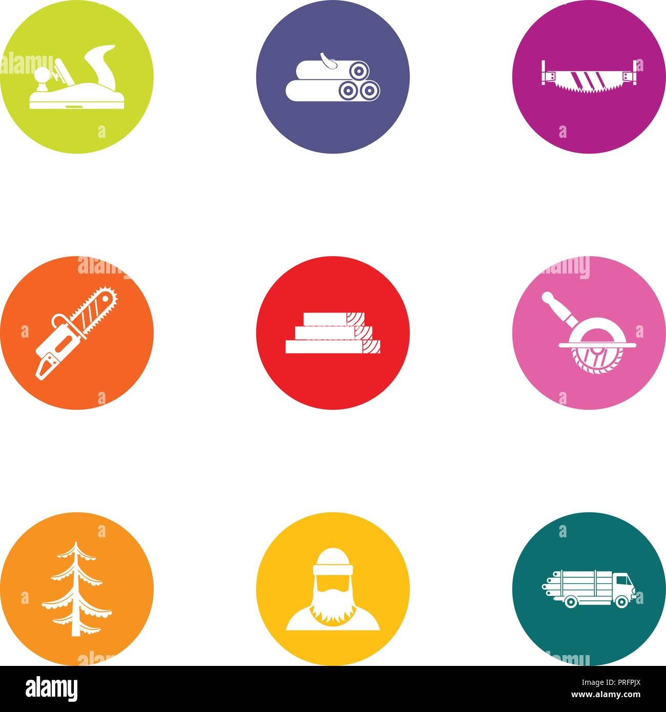 Cut icons set, flat style - Stock Image