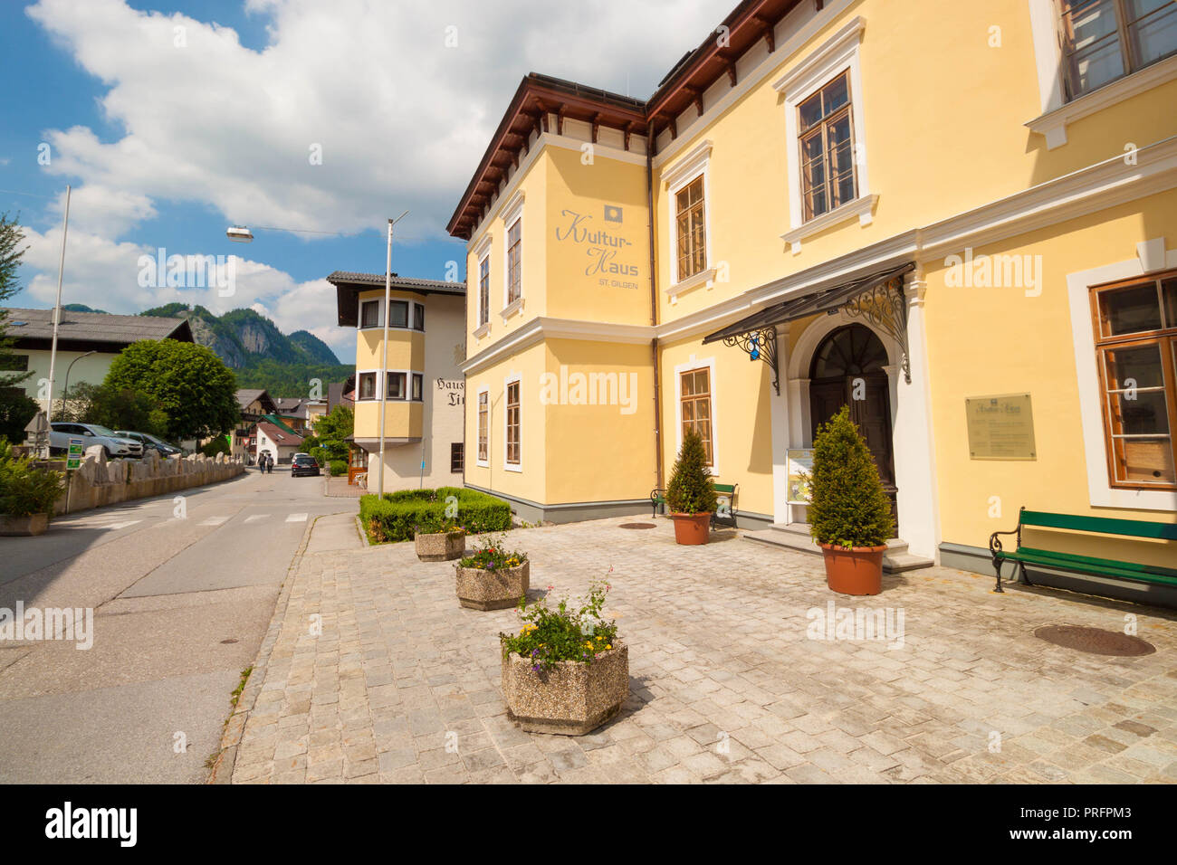 St. Gilgen, Austria - May 31, 2017: House of culture in alpine village St. Gilgen, Austria - Stock Image