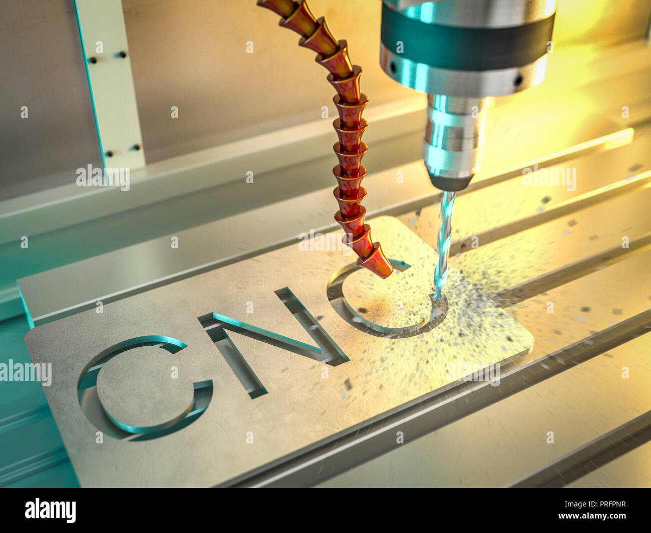 3d rendering image of cnc machine - Stock Image