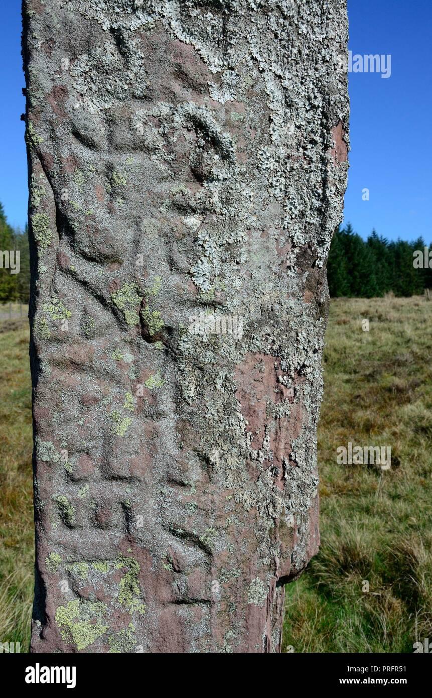 Maen Madoc Maen Madog standing stone menhir with Latin inscription alongside Sarn Helen Roman Road Brecon Beacons Fforest Fawr Geopark Wales cymru UK Stock Photo