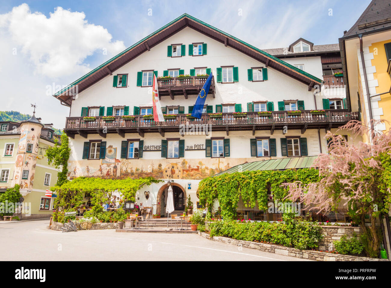 St. Gilgen, Austria - May 23, 2017: Hotel Gasthof Zur Post in a typical austrian house on the main square of austrian town St. Gilgen. - Stock Image