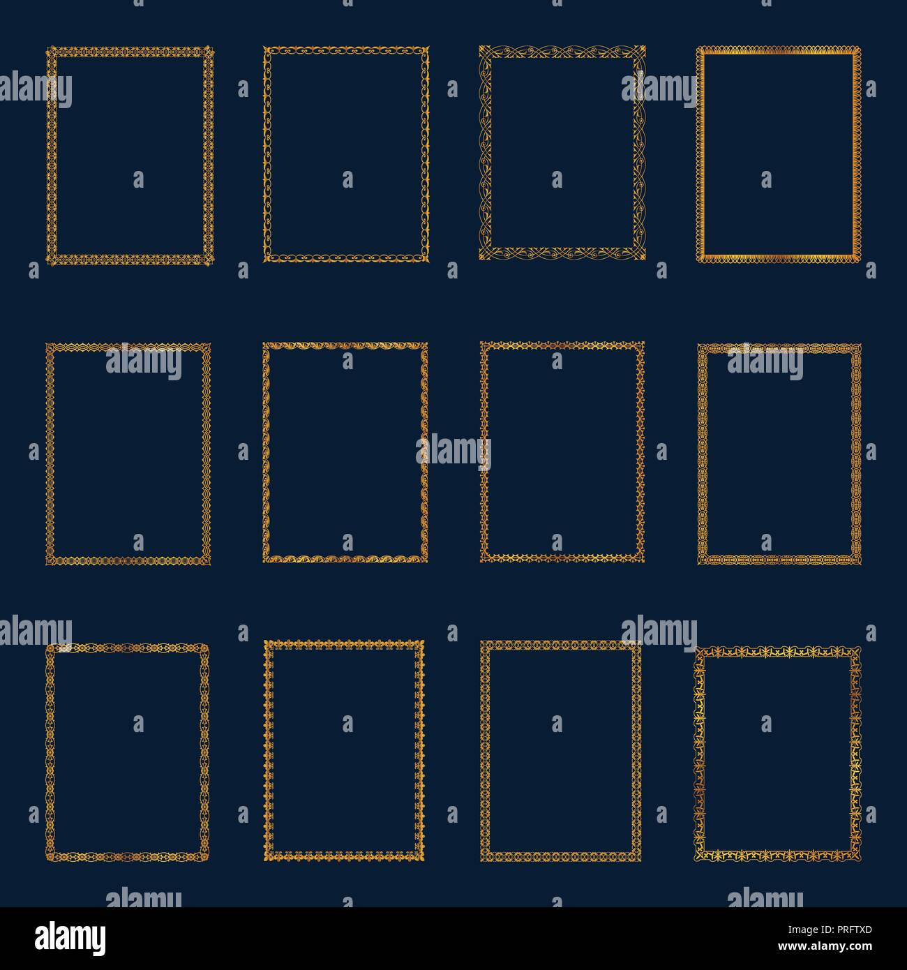 Set of Luxury golden frames and borders set. Set golden frames template elegant ornament lines.for Restaurant, Royalty, Boutique, Hotel, Heraldic, Jew - Stock Vector