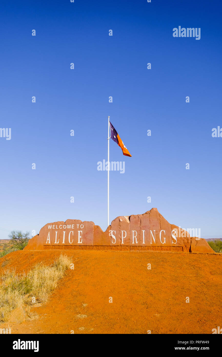 Welcome to Alice Springs Sign, Australia - Stock Image