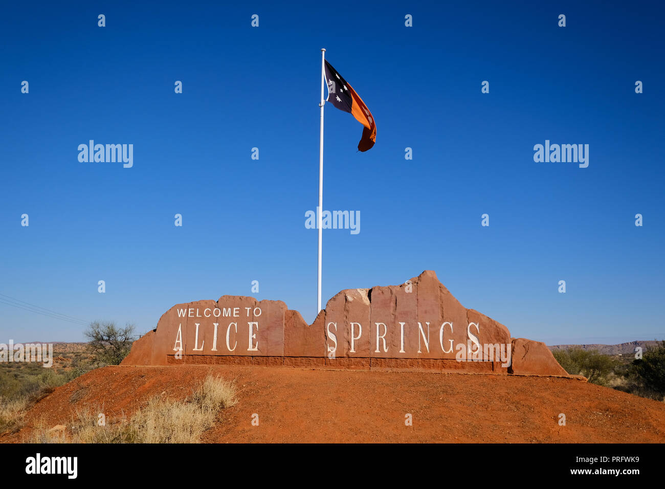 Welcome to Alice Springs, Australia - Stock Image