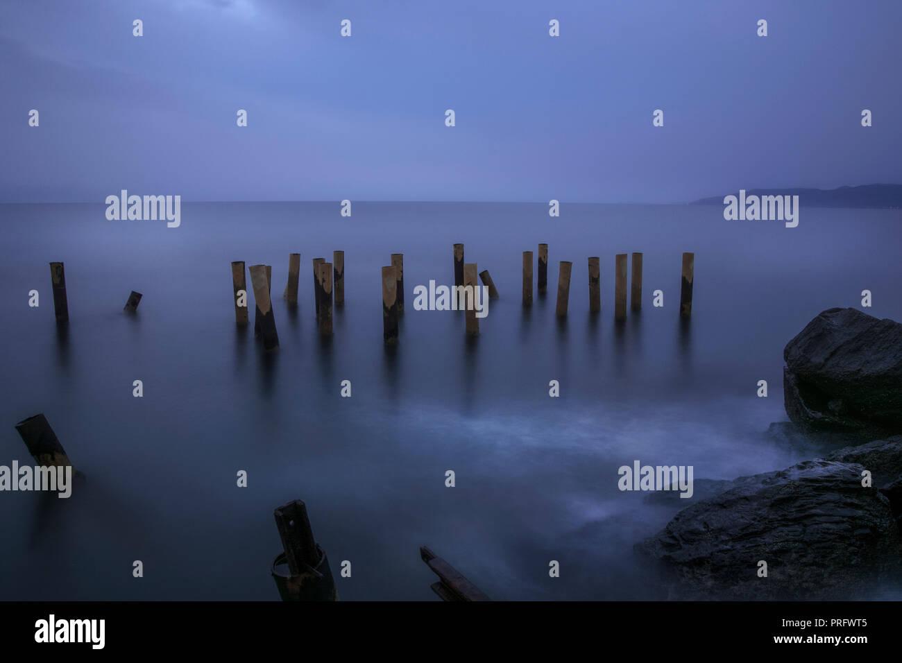 Pamucak sea side long exposure,Selcuk,İzmir,Turkey - Stock Image