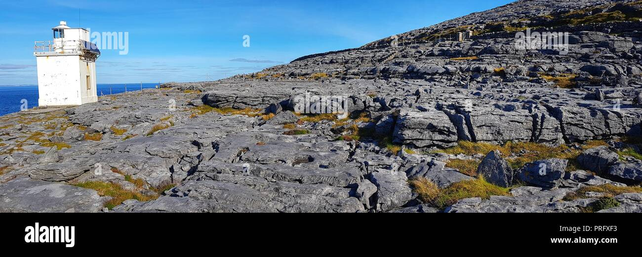 black head county clare ireland. the burren national park along the wild atlantic way on the geopark geotourism route. beautiful irish countryside lan - Stock Image