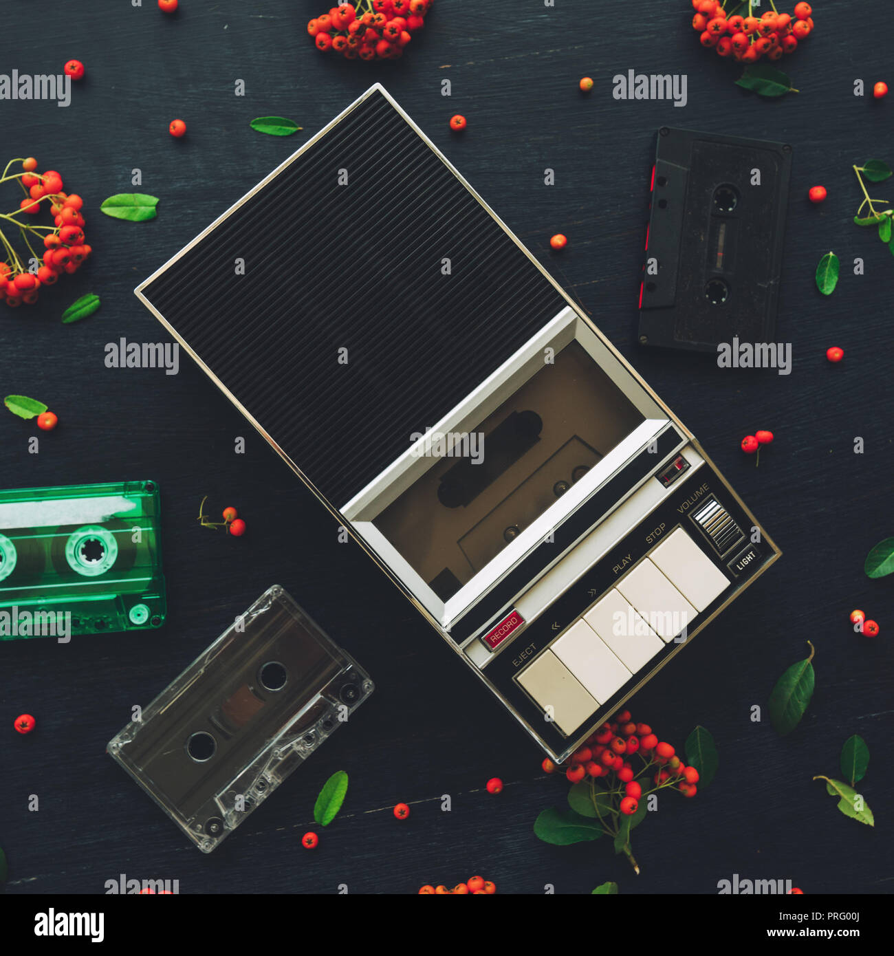 Flat lay music audio cassette and player, nostalgic image