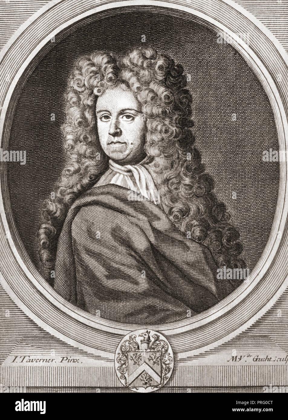 Daniel Defoe, 1660 - 1731, born Daniel Foe.  English trader, writer, journalist, pamphleteer and spy. Stock Photo