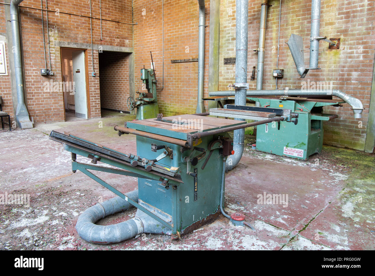 Bench Saw In An Abandoned Woodworking Workshop Stock Photo Alamy