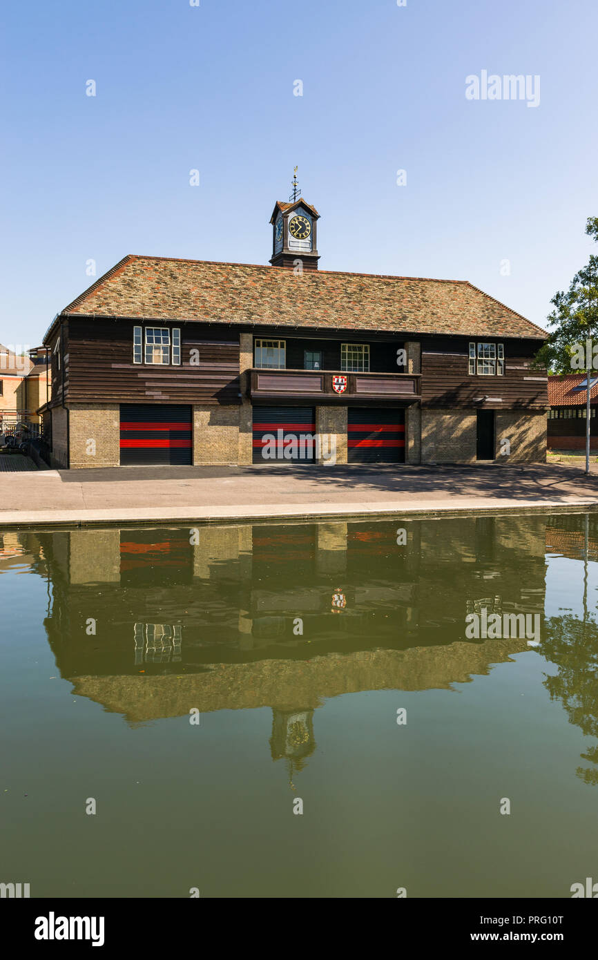 Exterior of Jesus College Boathouse by the river Cam on a sunny Summer day, Cambridge, UK - Stock Image