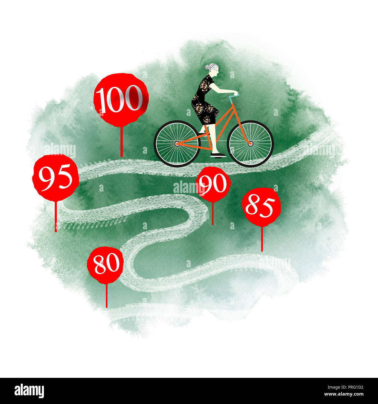 healthy old woman passing by the centenary age - Stock Image