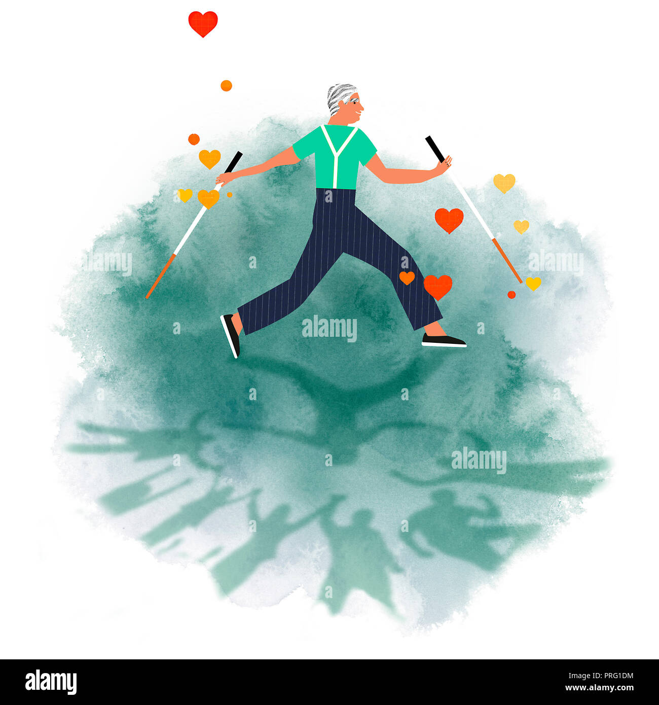 healthy old man walking with nordic sticks surrounded by family - Stock Image