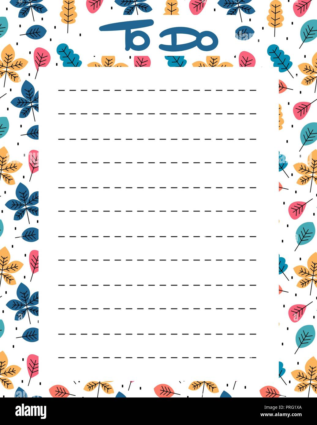 picture regarding To Do List Printable Cute identify adorable toward do record vector printable with vibrant leaves Inventory