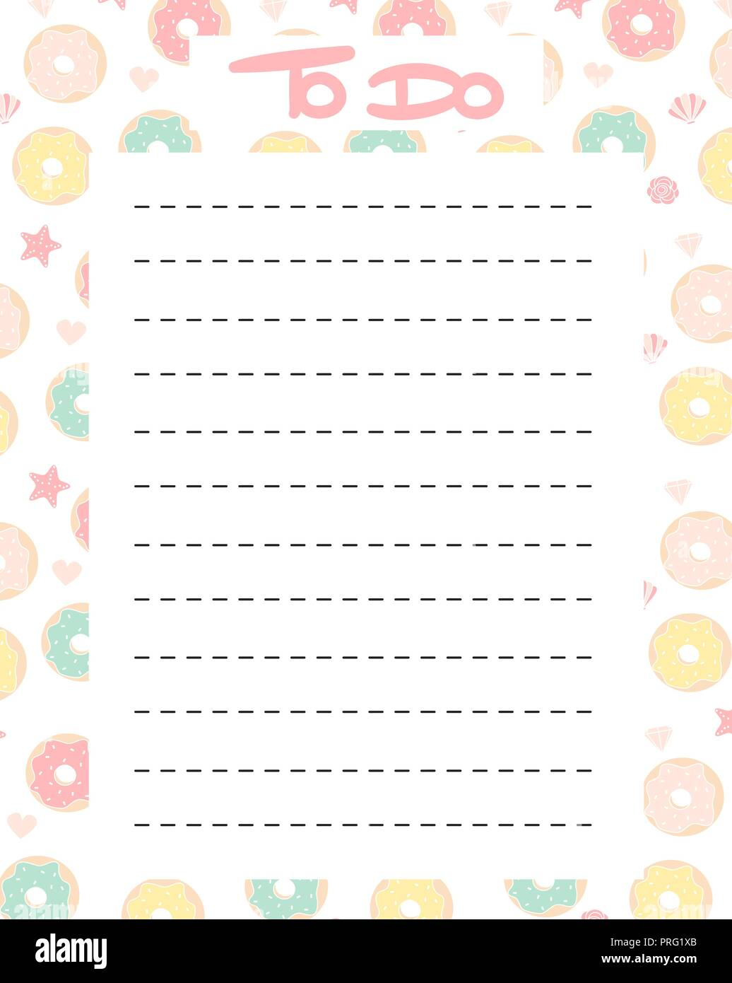 picture regarding To Do List Printable Cute referred to as lovely toward do checklist vector printable with vibrant donuts Inventory