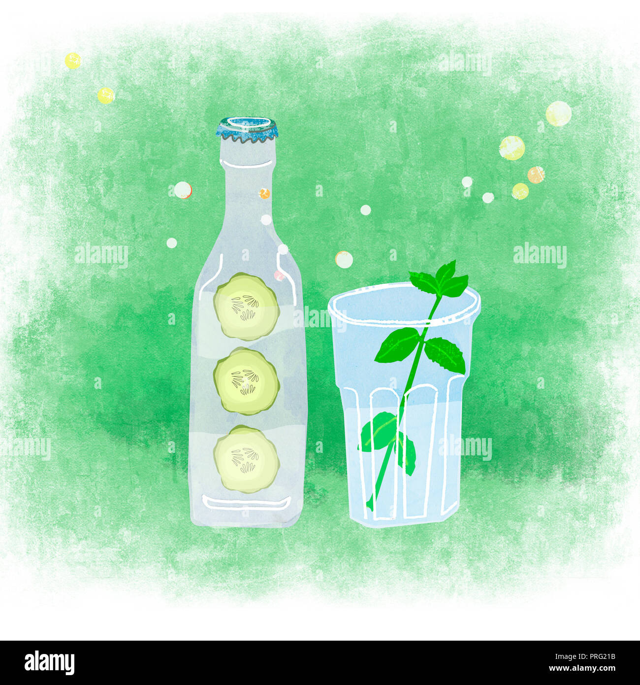 a bottle and a glass with natural drink - Stock Image