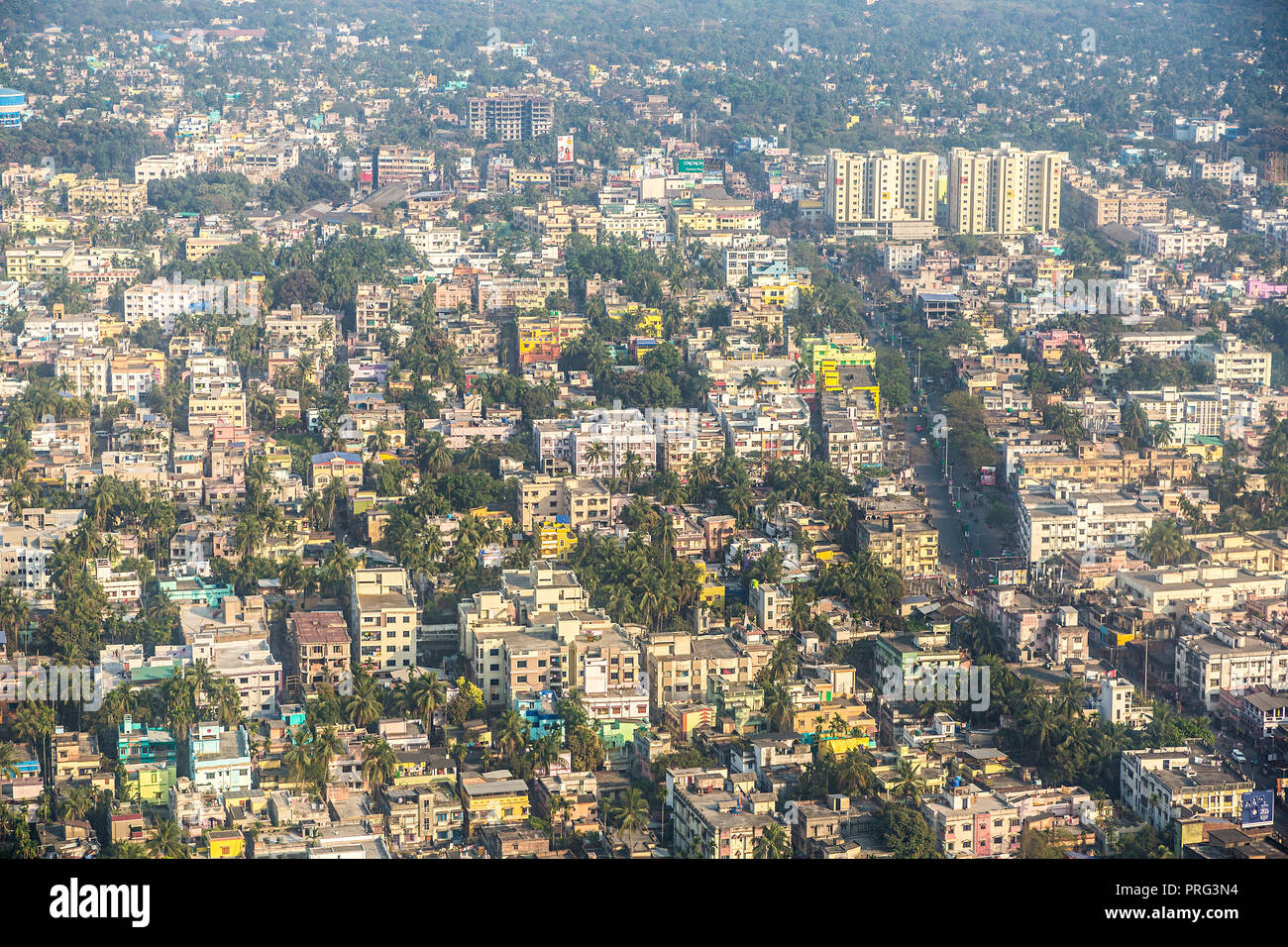 Aerial view over residential area of Kolkata, India - Stock Image