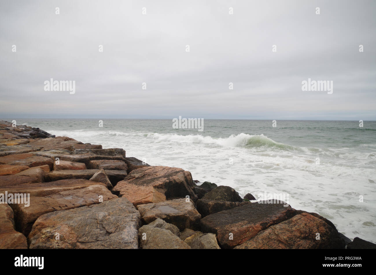 Beach on Block Island, Rhode Island USA - Stock Image