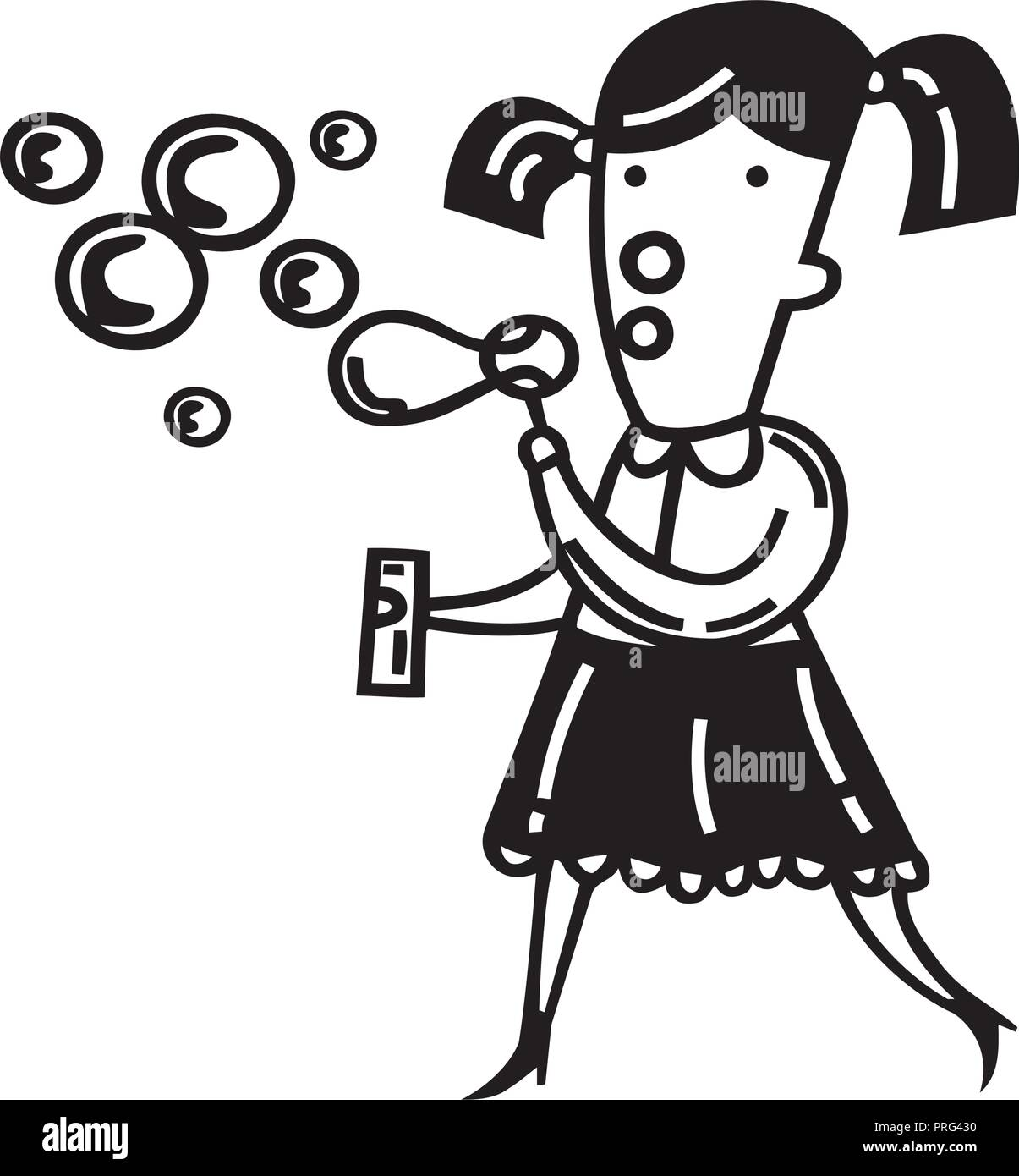 Cute little girl blowing bubbles. Vector Illustration. - Stock Vector