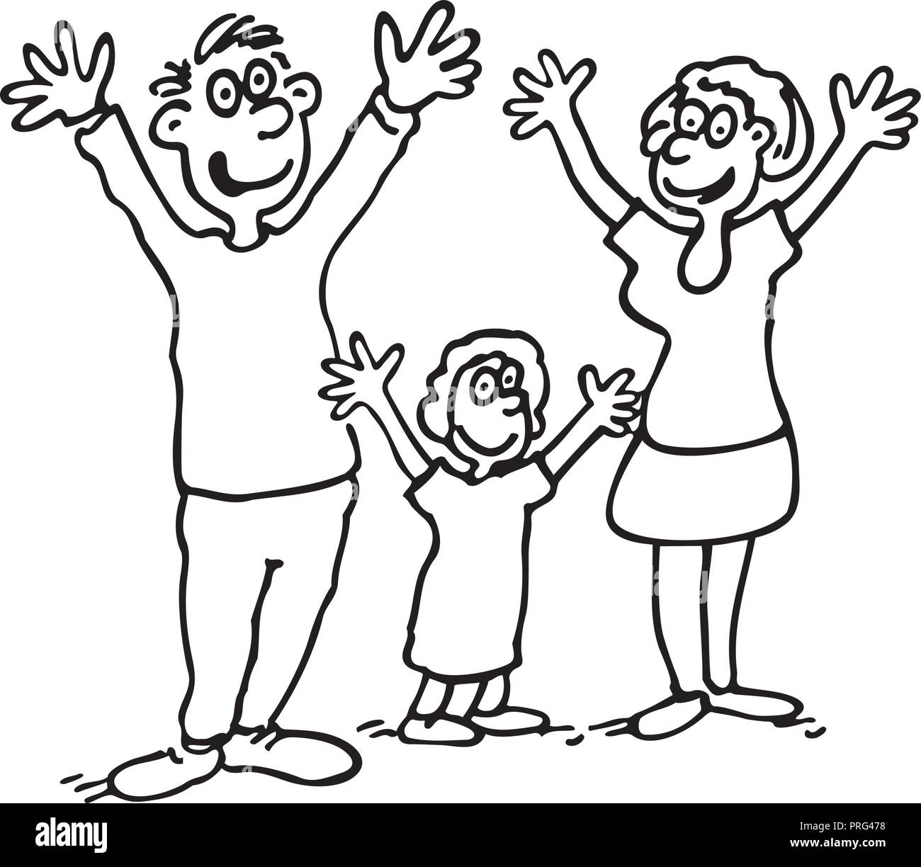 Vector Doodle Of Happy Family Outlined Cartoon Drawing Sketch Illustration Vector Stock Vector Image Art Alamy
