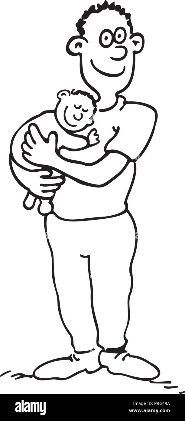Happy dad is holding her babyboy. outlined cartoon drawing sketch illustration vector. - Stock Image