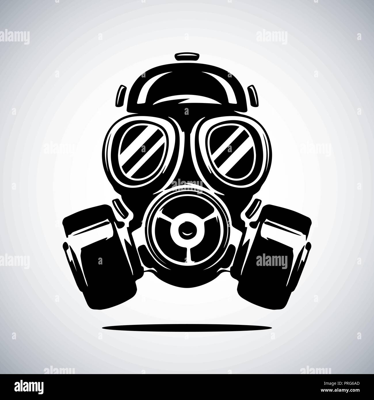 Gas mask vector illustration isolated on white background. Respirator vector illustration - Stock Image