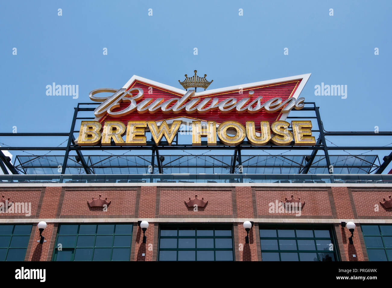 Budweiser Brew House in Busch Stadium, home of the St. Louis Cardinals, Downtown St. Louis, Missouri, USA - Stock Image