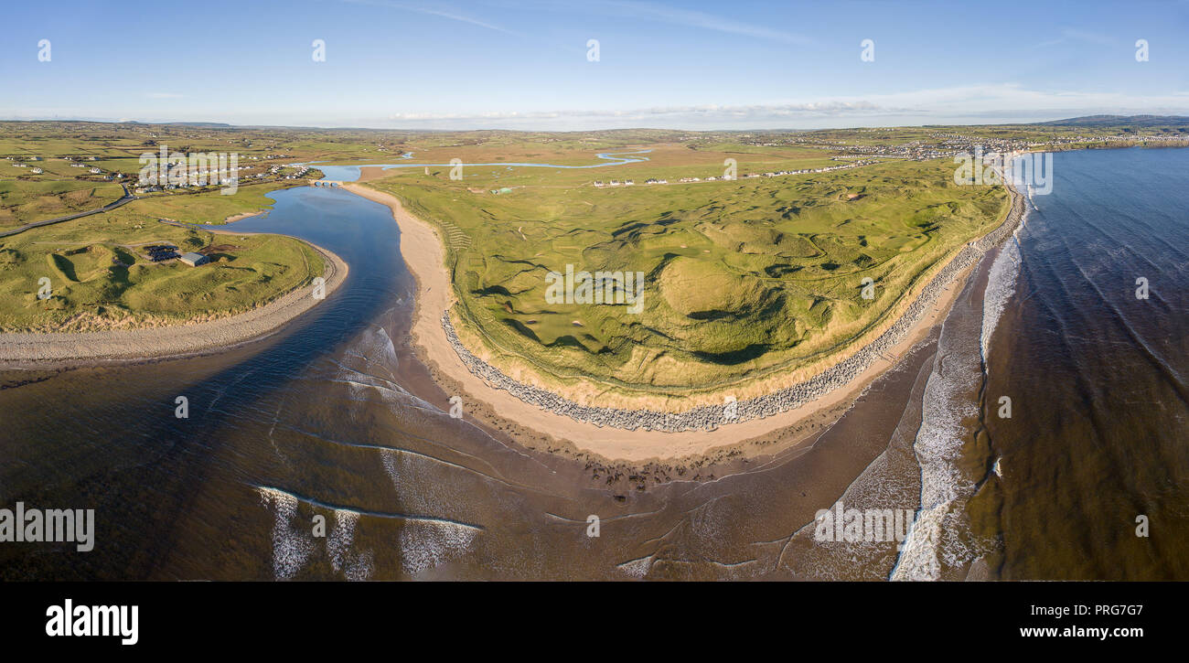 ireland lahinch golf course panoramic aerial birds eye view. famous european golf course. scenic beautiful lahinch beach in county clare ireland - Stock Image