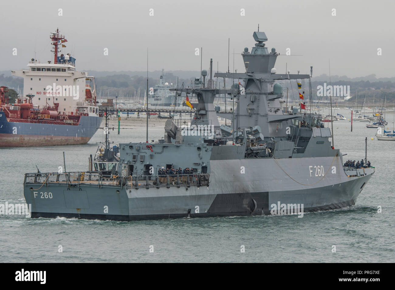 The German Navy K130 class warship FGS Braunschweig (F260) arriving at Portsmouth, UK on the 2nd October 2018. - Stock Image