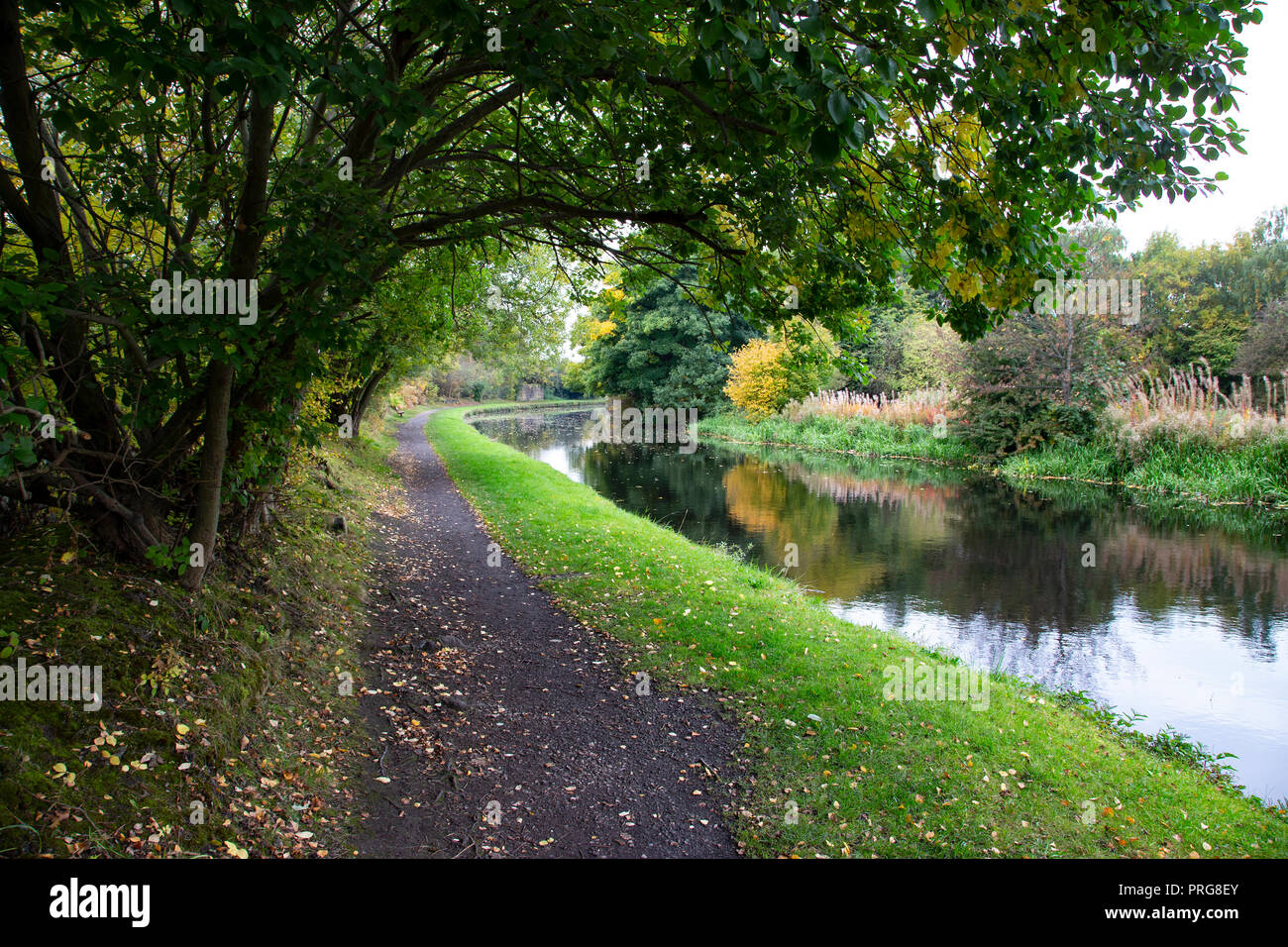 Early Autumn scene along the side of the Calder and Hebble canal in West Yorkshire - Stock Image
