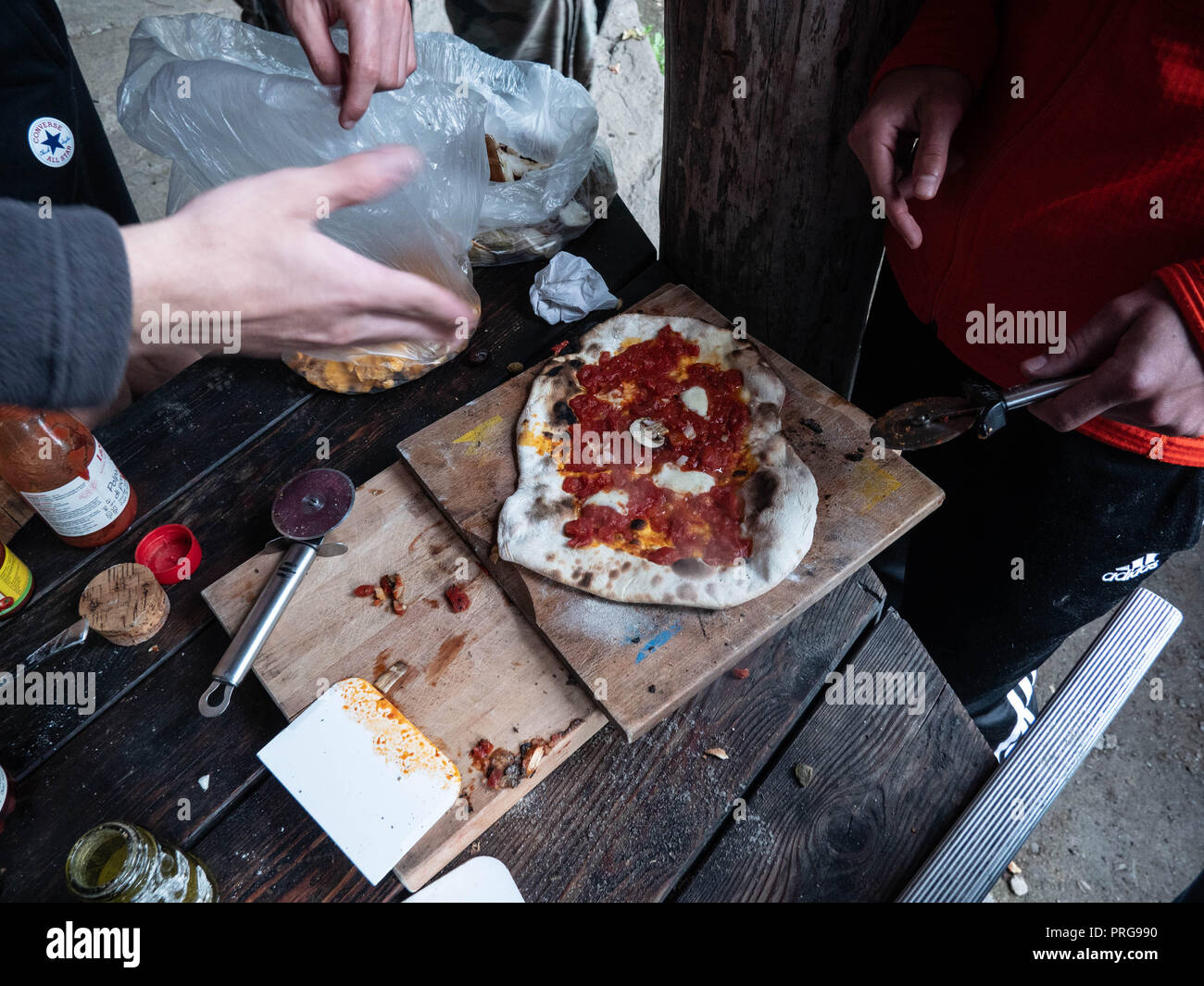 rustical stone oven Pizza - Stock Image