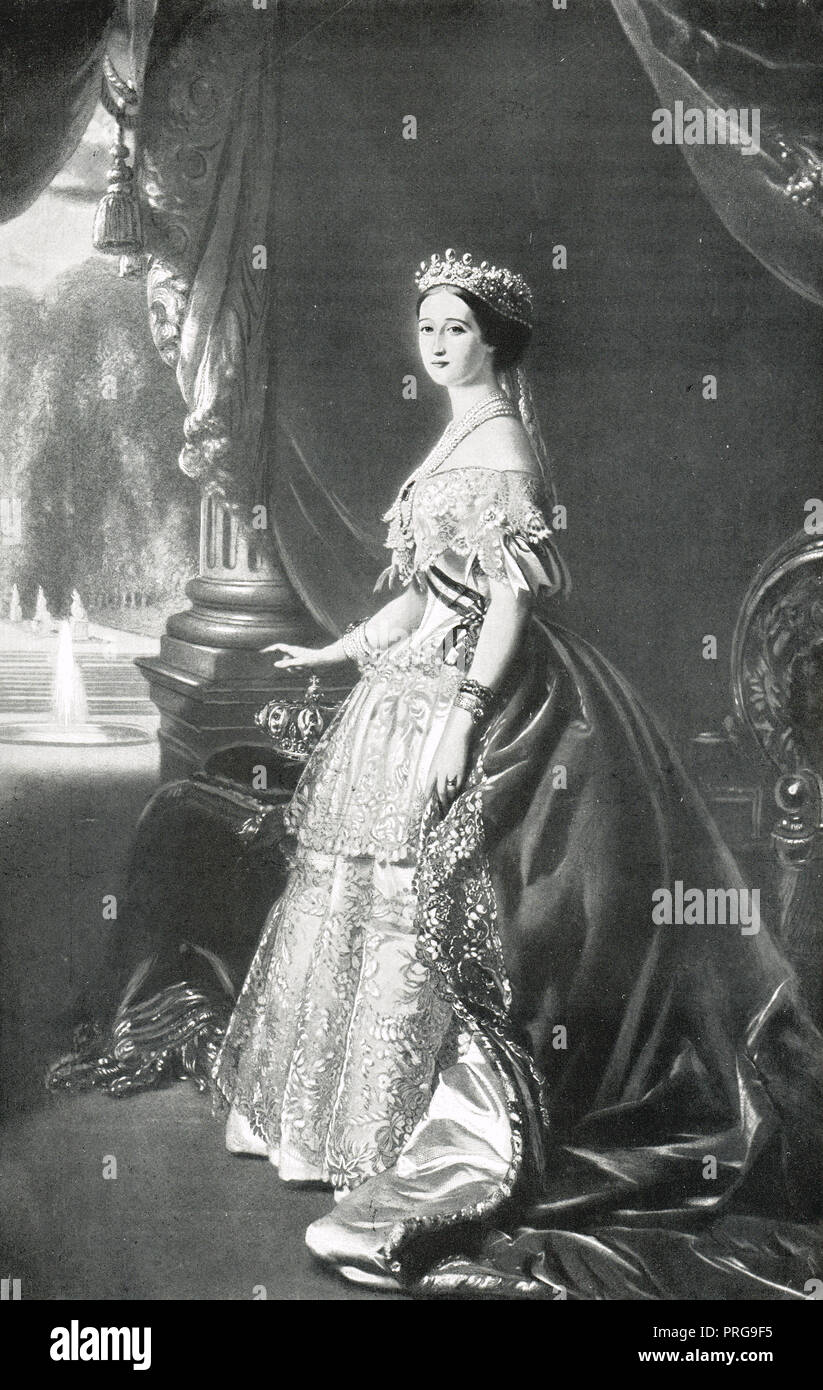 Empress Eugenie of the French in 1854, Eugénie de Montijo.  The last Empress Consort of the French, as the wife of Napoleon III - Stock Image