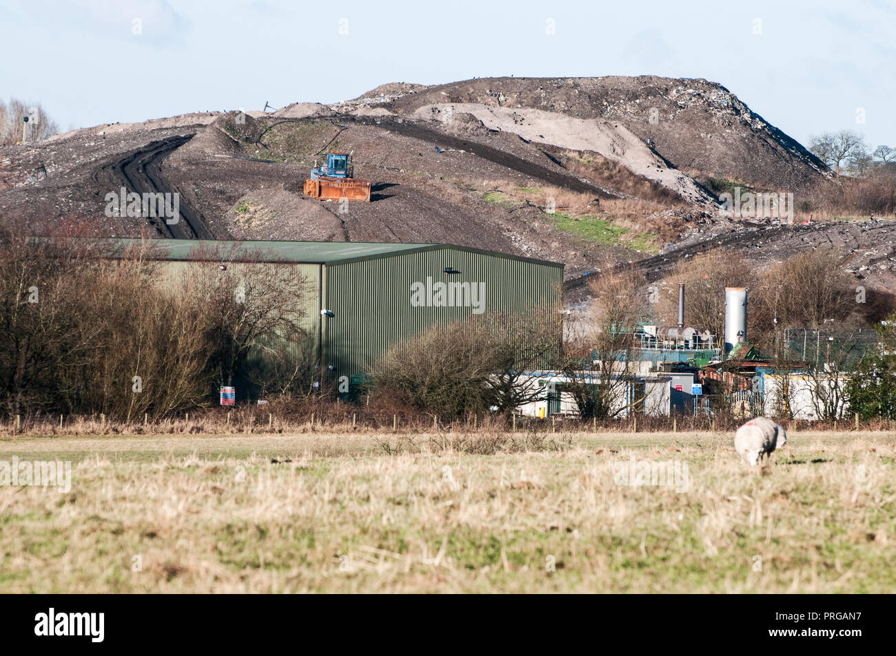 Landfill and Resource Recovery Plant on the site of the old Clayton Hall Sand Quarry, Clayton le Woods, Chorley, Lancashire, UK - Stock Image