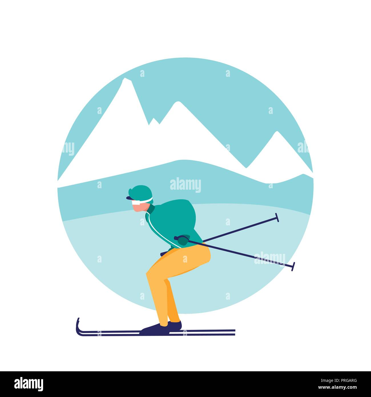 man practicing skiing on ice avatar character vector illustration design - Stock Image