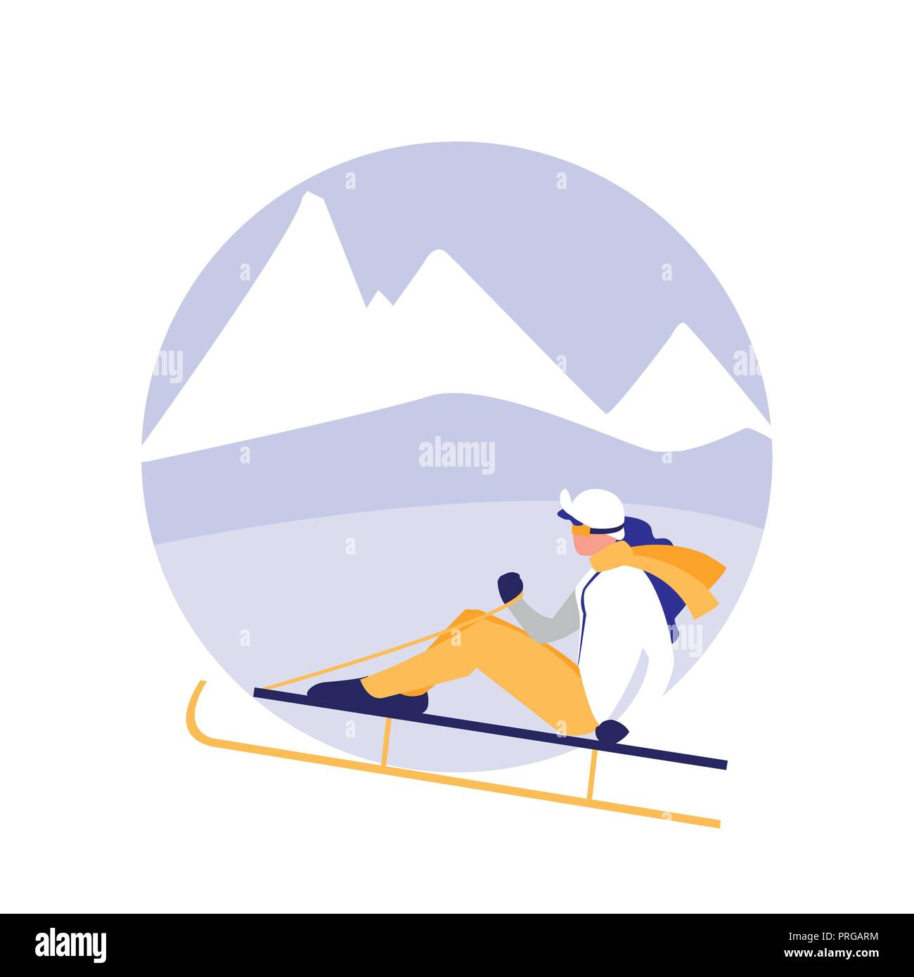 woman practicing skiing on ice avatar character vector illustration design - Stock Image