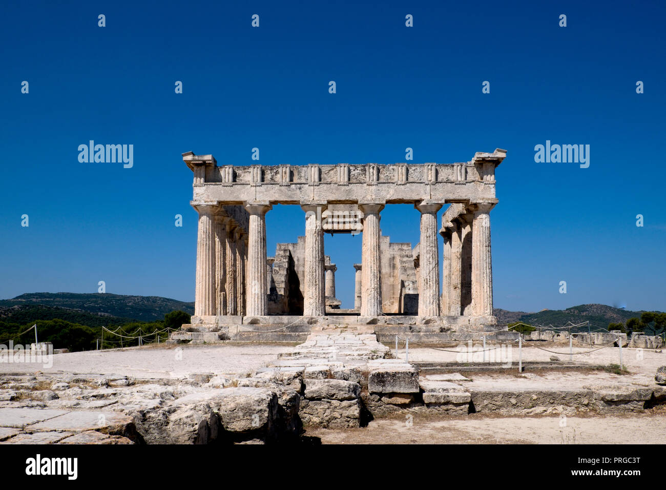 The ruins of the ancient Temple of Aphaia on the island of Aegina, Greece. - Stock Image