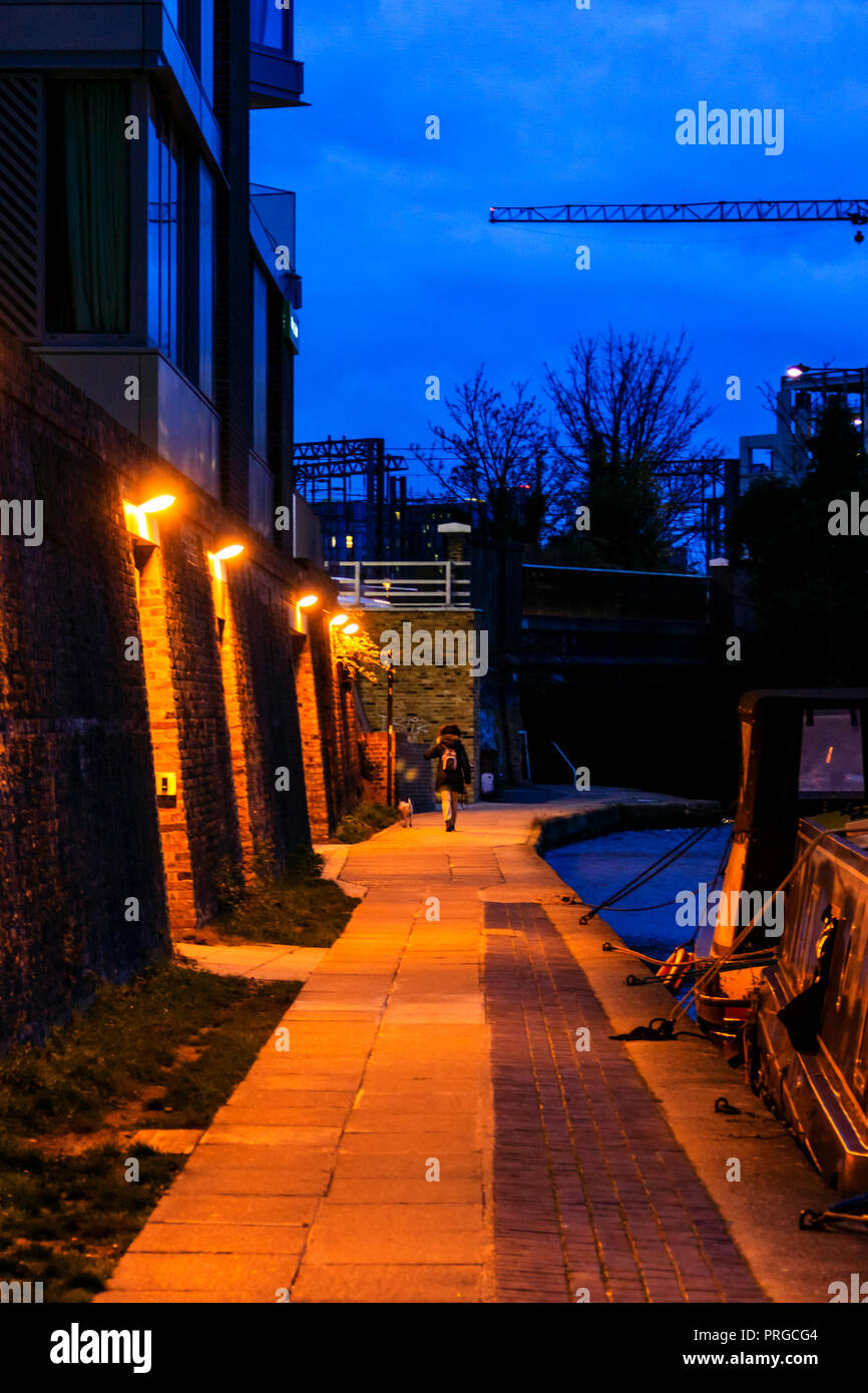 Young woman walking her dog at night along the towpath of Regent's Canal at King's Cross, London, UK - Stock Image