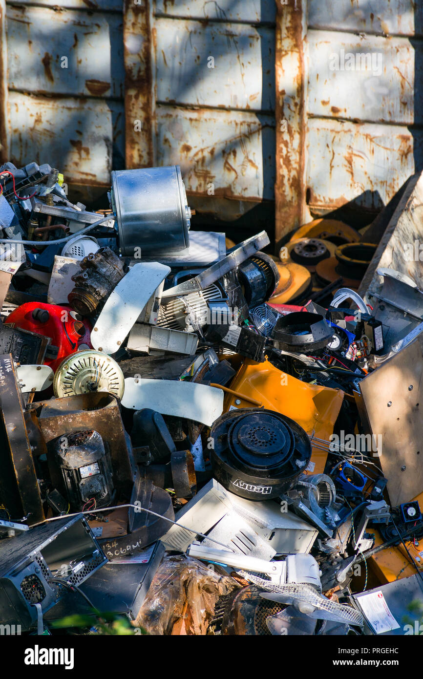 A large heap of scrap metal products waiting to be recycled at a scrap yard, United Kingdom - Stock Image