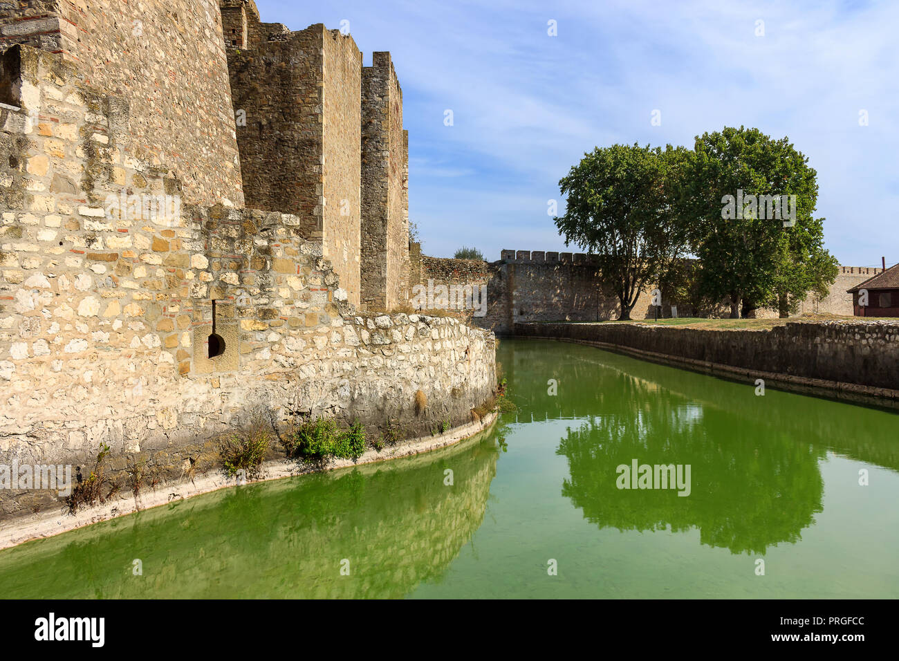 Channel with green, reflective water surrounding ancient Smederevo fortress - Stock Image