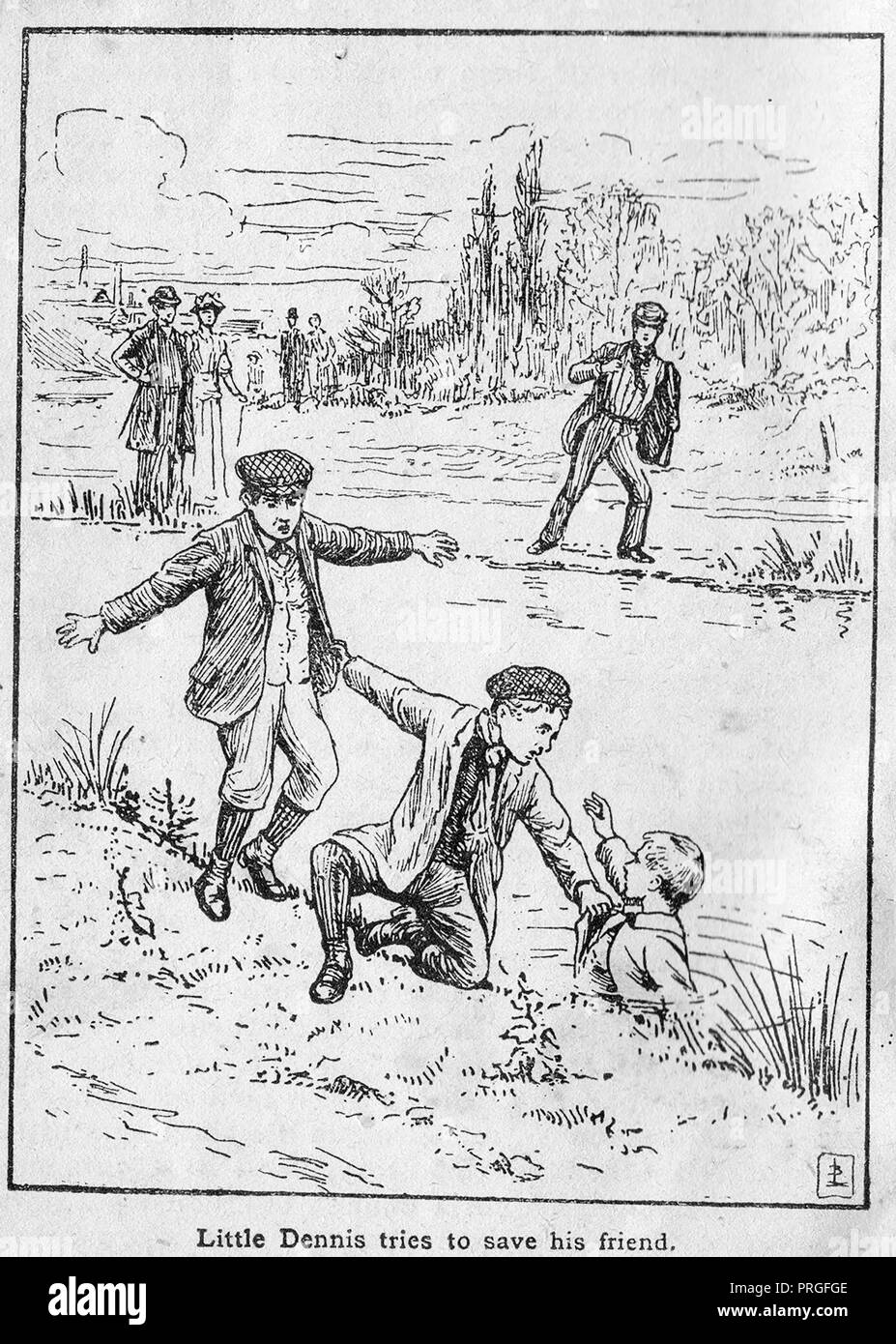 1902 illustration of the drowning of  Denis Petchell - Horse driver  John Atkins rescued Bert Osborne &  William Dadford from the river Nen (Nene), Northamptonshire, Petchell died- See ROYAL HUMANE SOCIETY BRONZE MEDALS CITATIONS 1902 - Case 31889 - Stock Image