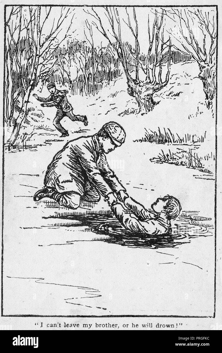 Early 1900's illustration of Ernest Caulder aged 8, and brother Alfred who died (illustrated) despite rescue efforts by 13 year old local hero Daniel Pusey (in background) in an   ice-covered pond at Burnham Beeches, Bucks - Stock Image