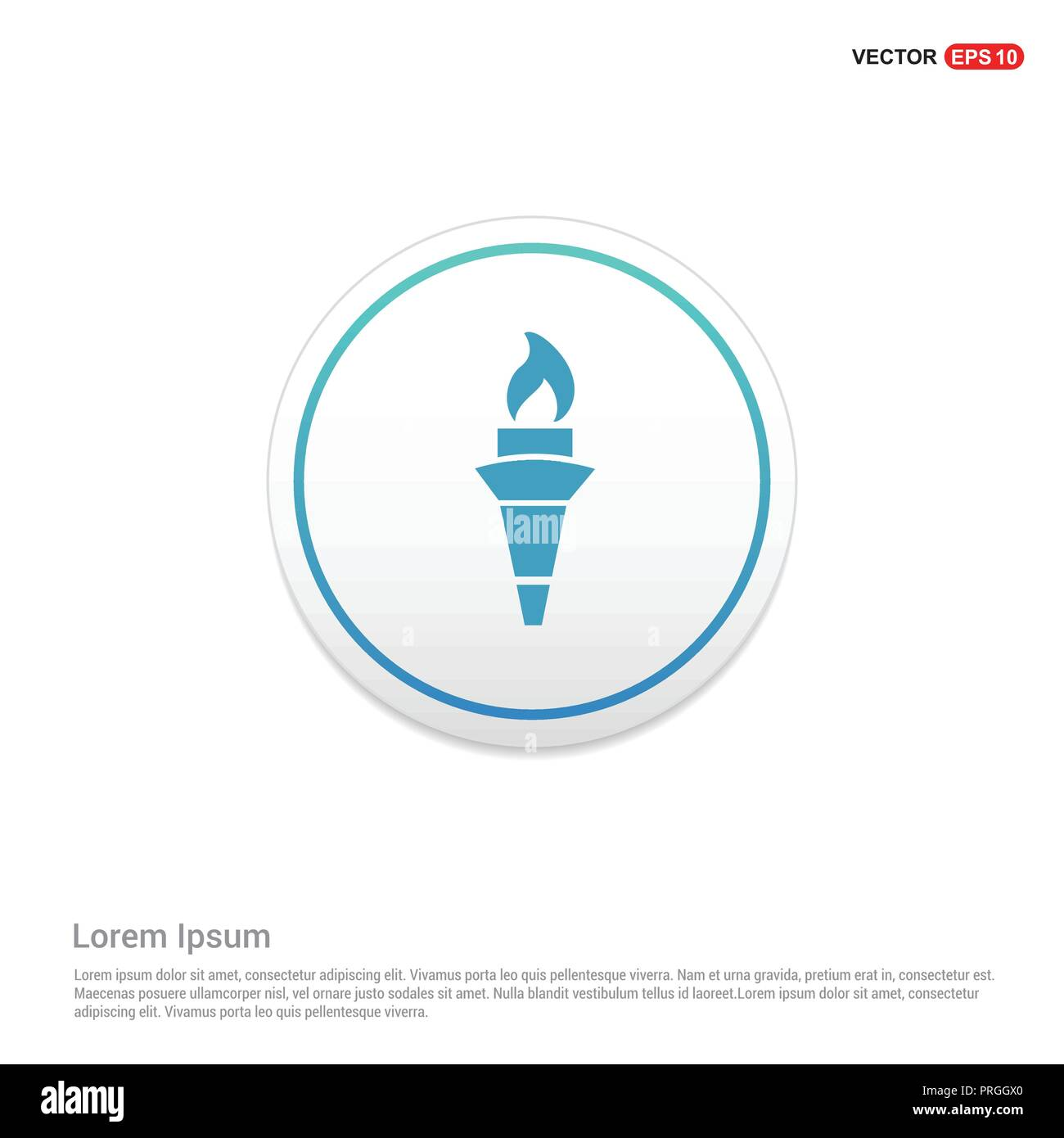 Olympic Torch Icon Hexa White Background icon template - Free vector icon - Stock Vector