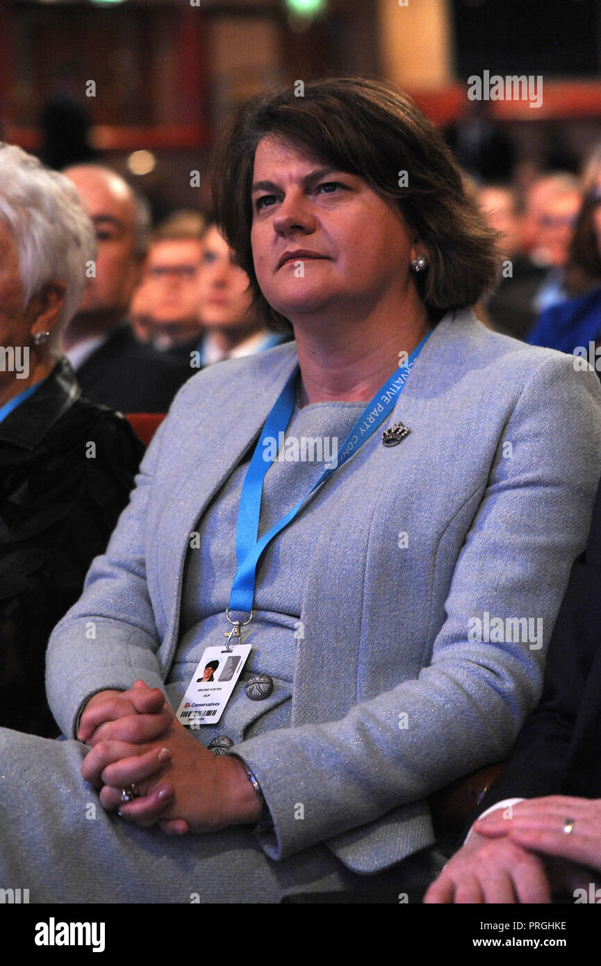 Birmingham, England. 2nd October, 2018.  Arlene Foster Leader of the Democratic Unionist Party, listening to a speech on the morning session of the Conservative Party annual conference at the ICC.  Kevin Hayes/Alamy Live News - Stock Image