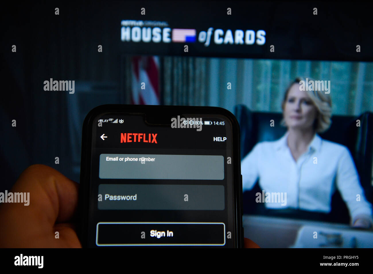 October 2, 2018 - Krakow, Poland - Netflix app is seen on an Android