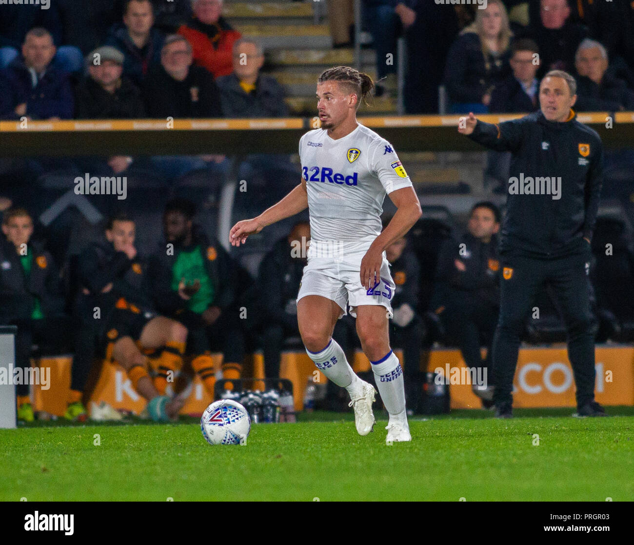 Hull, UK. 2nd October 2018, KCOM Stadium, Hull , England; Sky Bet Championship, Hull City v Leeds Utd ;  Kalvin Phillips (23) of Leeds Utd  with the ball Credit:   Craig Milner/News Images  English Football League images are subject to DataCo Licence Credit: News Images /Alamy Live News - Stock Image