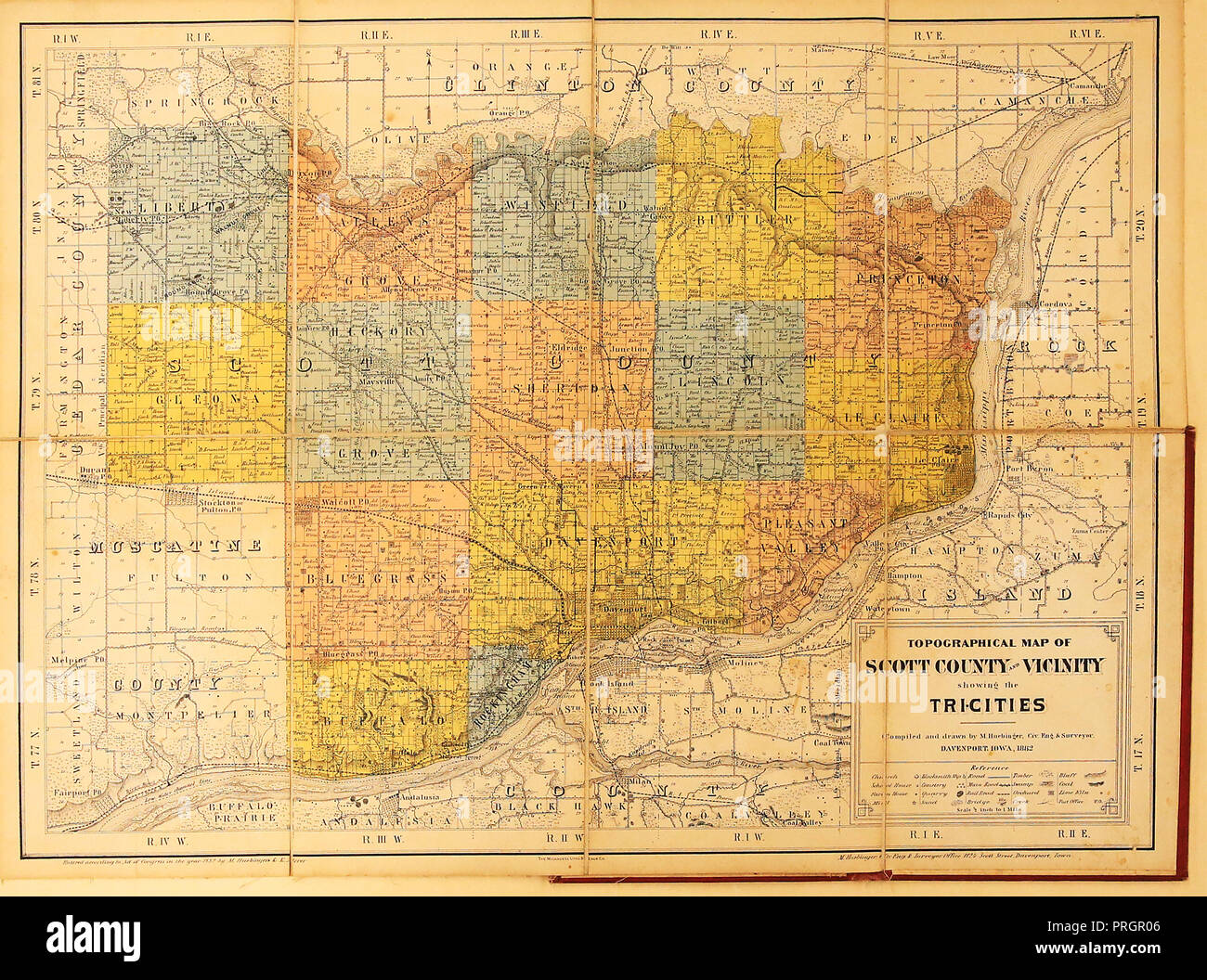 Davenport Iowa Usa 1st Oct 2018 A Bound Topographical Map Of
