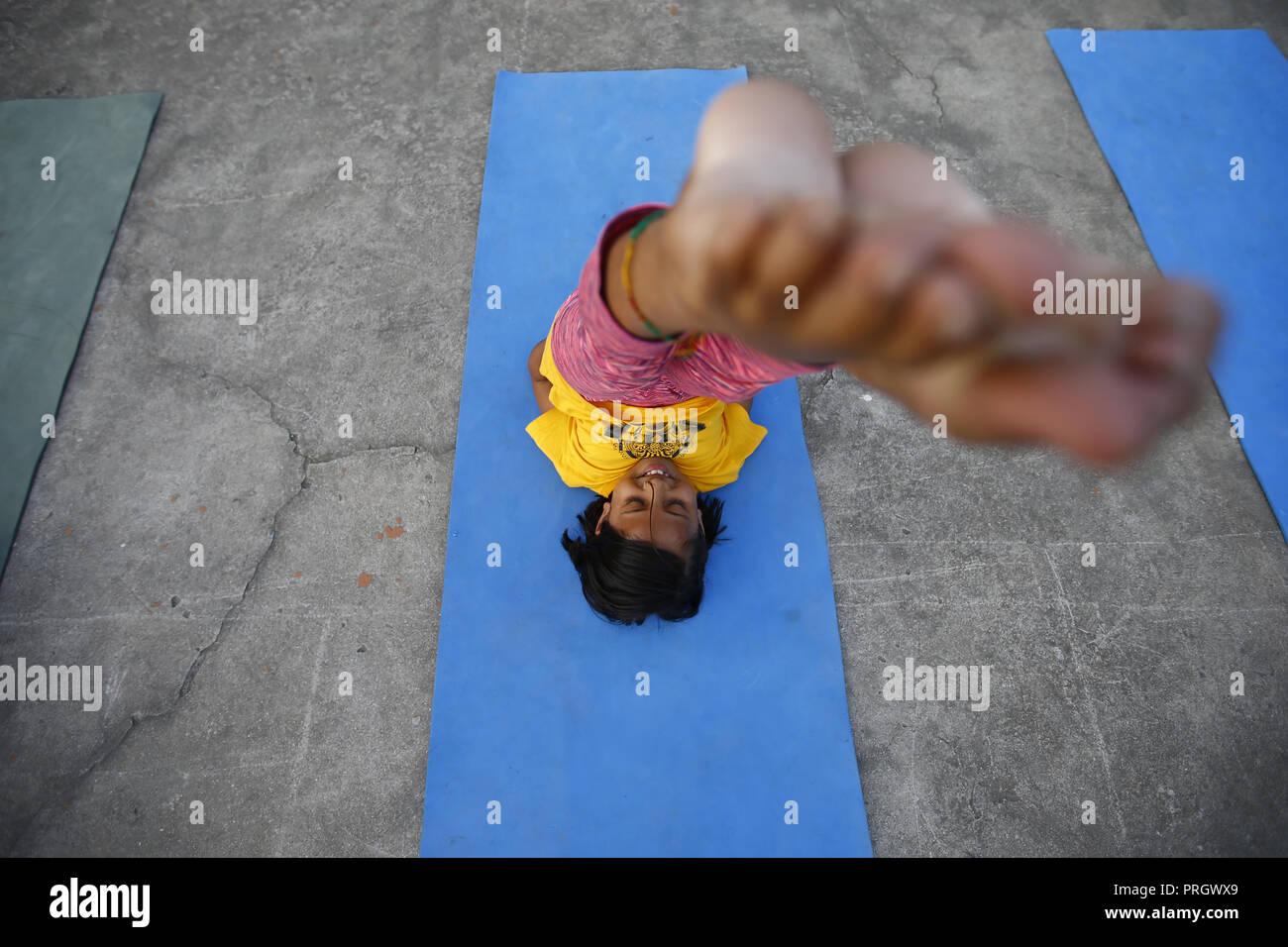 Kathmandu Nepal 2nd Oct 2018 A Nepalese School Girl That Are