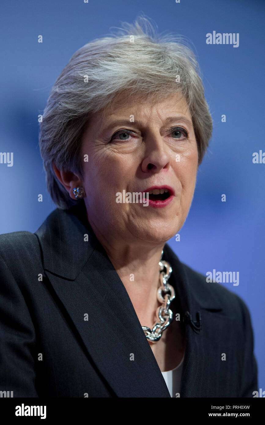 Birmingham, UK. 3rd October 2018. Theresa May, Prime Minister, First Lord of the Treasury, Minister for the Civil Service and Conservative MP for Maidenhead, speaks at the Conservative Party Conference in Birmingham. © Russell Hart/Alamy Live News. - Stock Image